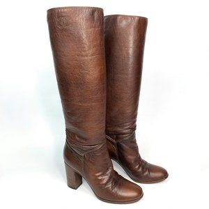 Vintage CHANEL Leather Knee High Heel Boots